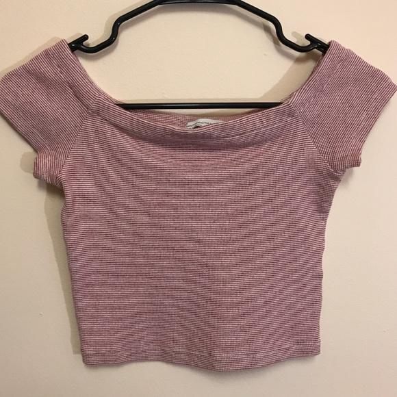 10e93c25703 Off the shoulder knit white & red striped crop top.  M_5ac3e768a44dbefe4a4a9f97
